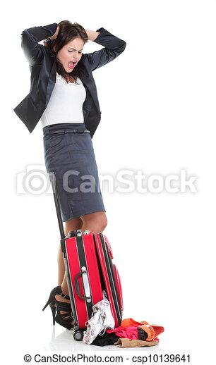 Full length young business woman to late red travel bagd - csp10139641