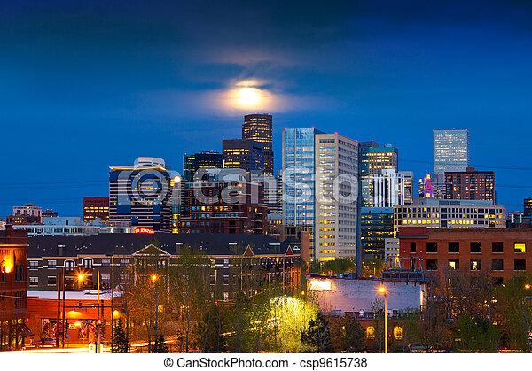 Full Moon Above Denver - csp9615738
