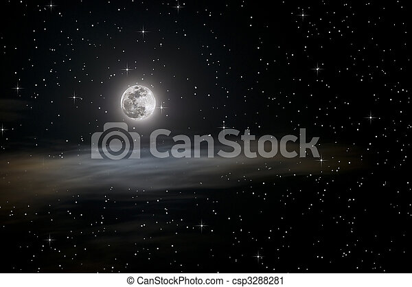 Full moon and stars - csp3288281