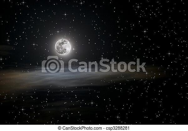 Full moon and stars - csp3288281