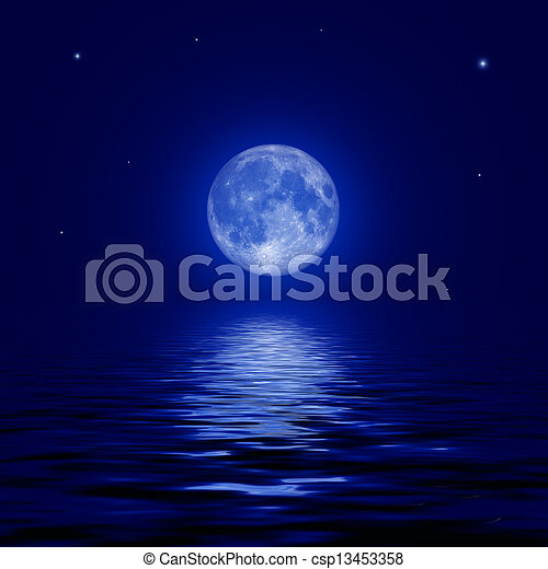 Full moon and stars reflected in the water surface - csp13453358