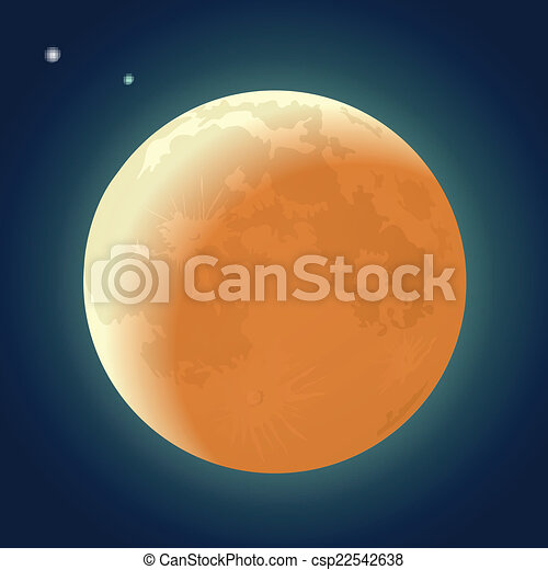 Full Moon Eclipse on a Dark Blue Sky - csp22542638