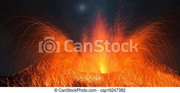 Full moon eruption of a volcano - csp16247382