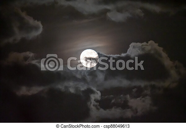 full moon in the sky with clouds - csp88049613