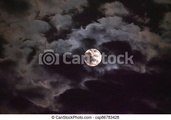 full moon in the sky with clouds - csp86783428