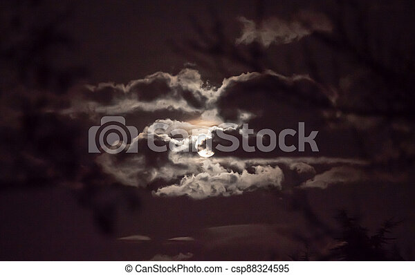 full moon in the sky with clouds - csp88324595
