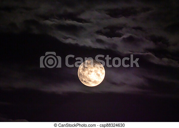 full moon in the sky with clouds - csp88324630