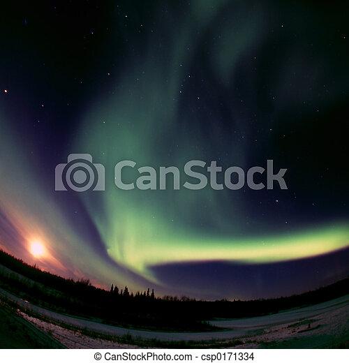Full Moon meets Aurora Borealis - csp0171334