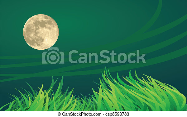 full moon night illustrations, countryside setting. - csp8593783