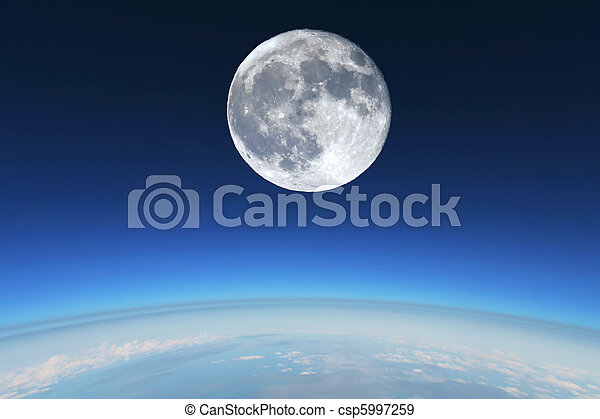 Full Moon over Earth's stratosphere. - csp5997259