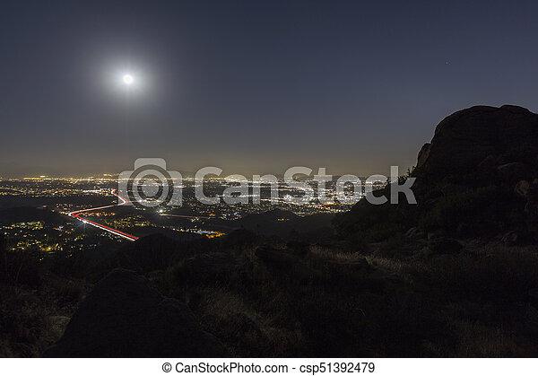 Full Moon Over Los Angeles California - csp51392479