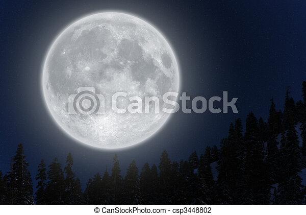 Full moon over mountain - csp3448802