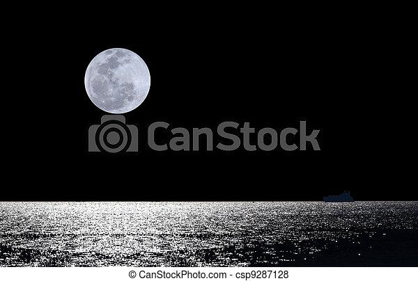 Full moon over water - csp9287128