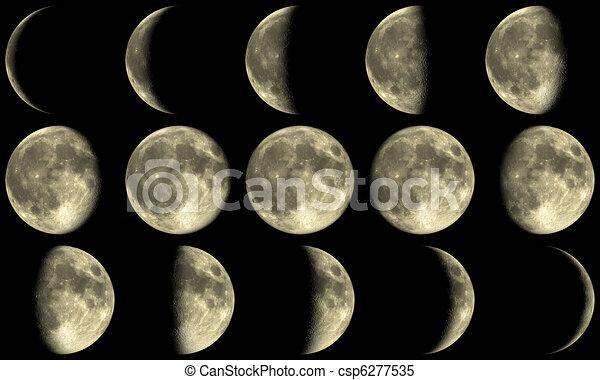 Full Moon Phases - yellow - csp6277535