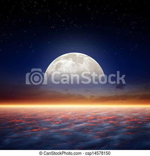 Full moon rise - csp14578150
