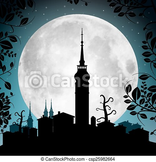 Full Moon Vector Illustration with Town Silhouette - Houses and Tower - csp25982664