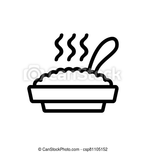 full plate of hot porridge with spoon icon vector outline illustration - csp81105152