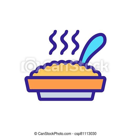 full plate of hot porridge with spoon icon vector outline illustration - csp81113030