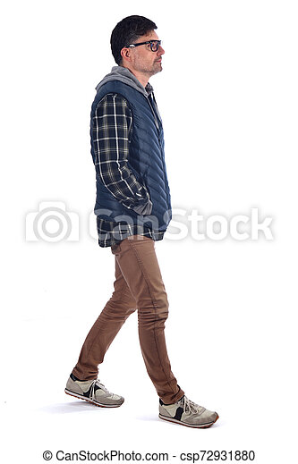 full portrait of a man on white background - csp72931880