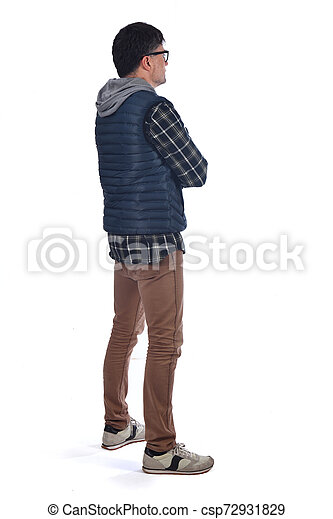 full portrait of a man on white background - csp72931829