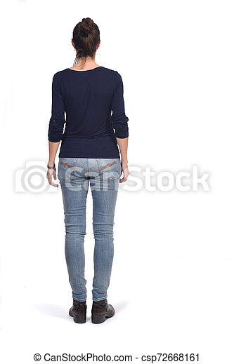 full portrait of a woman from behind on white - csp72668161