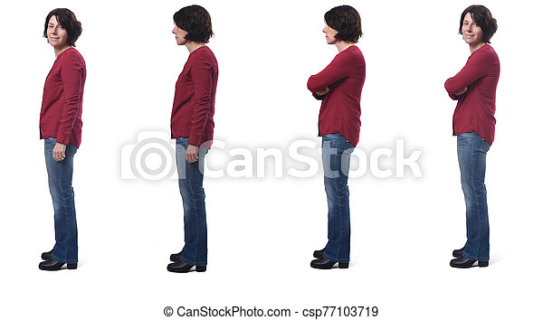 full portrait of a woman from the side on white - csp77103719