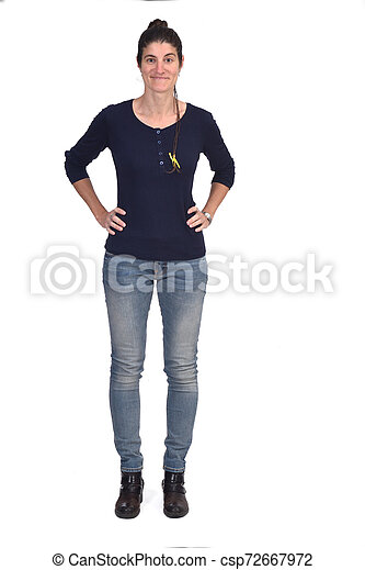 full portrait of a woman hands on hips on white background - csp72667972