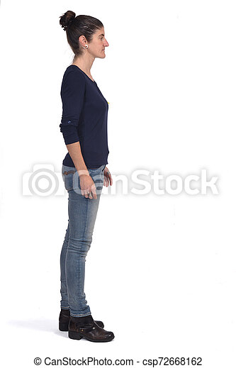 full portrait of a woman of profile on white - csp72668162