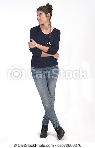 full portrait of a woman on white - csp72668276