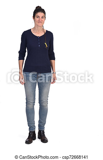 full portrait of a woman on white background - csp72668141