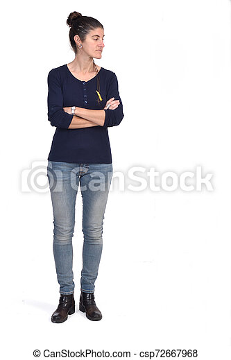full portrait of a woman with arms crossed on white background - csp72667968