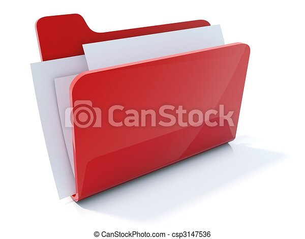Full red folder icon isolated on white - csp3147536