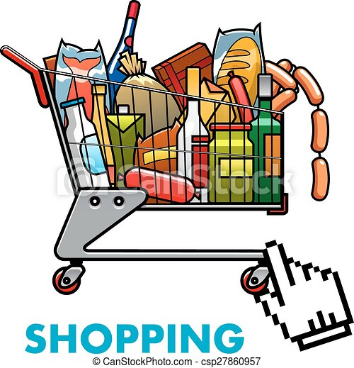 full shopping cart with food and drinks online shopping clipart rh canstockphoto com grocery shopping cart clipart