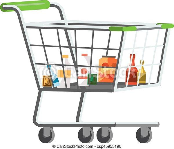 Full Grocery Cart Clipart Full shopping t...