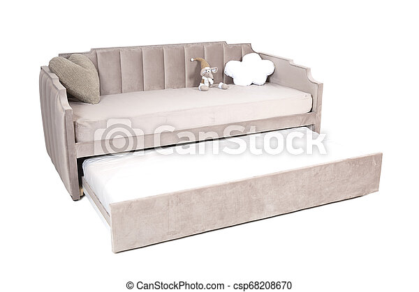 Full Size Folding Sofa Bed Light Brown Fabric With Storage Space