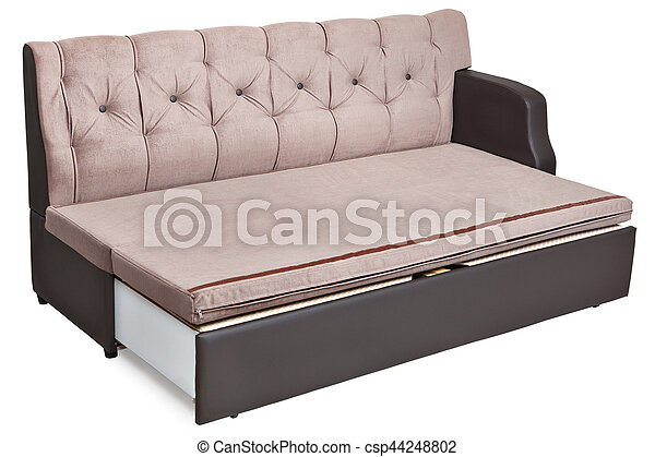 Full Size Sofa Bed Light Brown Fabric And Hidden Storage System