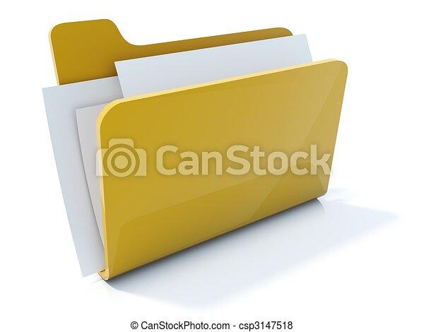 Full yellow folder icon isolated on white - csp3147518
