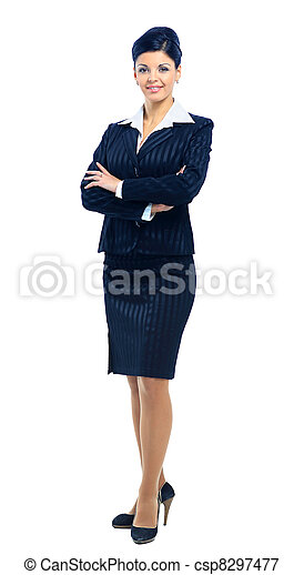 Fullbody business woman smiling isolated over a white background - csp8297477