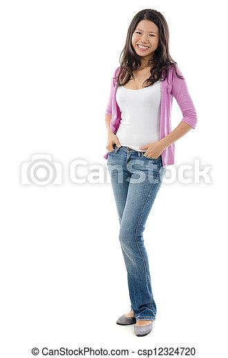 Fullbody Southeast Asian girl - csp12324720