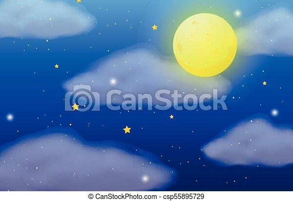 fullmoon, étoiles, scène, fond - csp55895729
