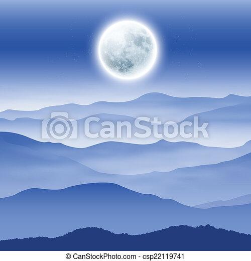 fullmoon, montagnes, brouillard, fond - csp22119741
