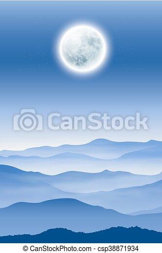 fullmoon, montagnes, brouillard, fond - csp38871934
