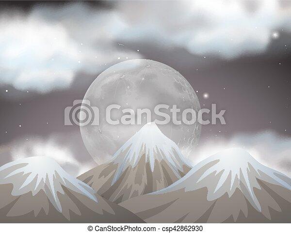 fullmoon, montagnes, derrière, scène, nature - csp42862930
