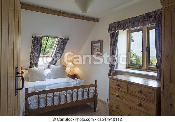 fully-furnished, grenier, vacances, lucarne, chambre à coucher, petite  maison