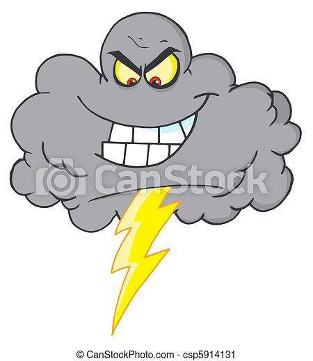 Fulmine Nube Temporale Nero Cartone Animato Nuvola Lampo
