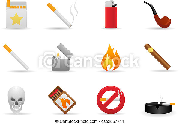 Un juego de iconos fumadores - csp2857741