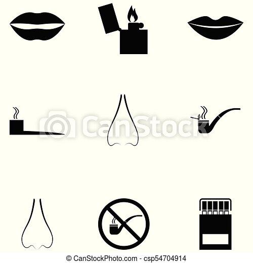 Un juego de iconos fumadores - csp54704914