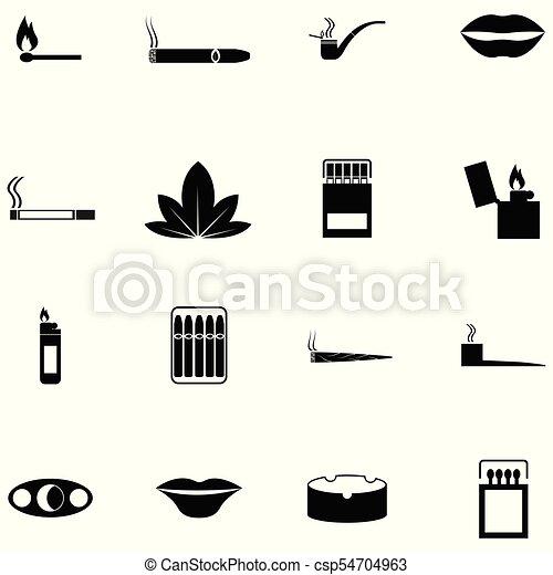 Un juego de iconos fumadores - csp54704963