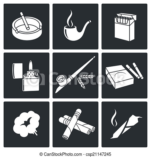 Un juego de iconos fumadores - csp21147245