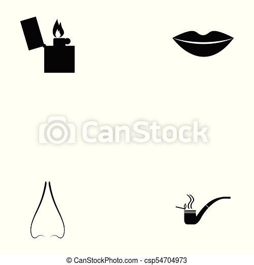 Un juego de iconos fumadores - csp54704973
